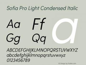 Sofia Pro Light Condensed Italic Version 2.000 Font Sample