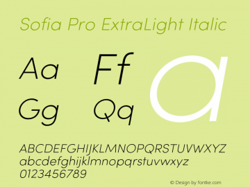 Sofia Pro ExtraLight Italic Version 2.000 Font Sample