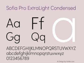 Sofia Pro ExtraLight Condensed Version 2.000 Font Sample