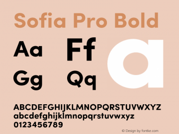 Sofia Pro Bold Version 2.000 Font Sample
