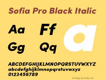 Sofia Pro Black Italic Version 2.000 Font Sample