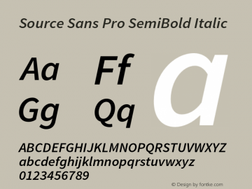 Source Sans Pro SemiBold Italic Version 1.038;PS 1.000;hotconv 1.0.70;makeotf.lib2.5.5900 Font Sample
