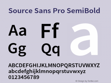 Source Sans Pro SemiBold Version 1.038;PS 1.000;hotconv 1.0.70;makeotf.lib2.5.5900 Font Sample