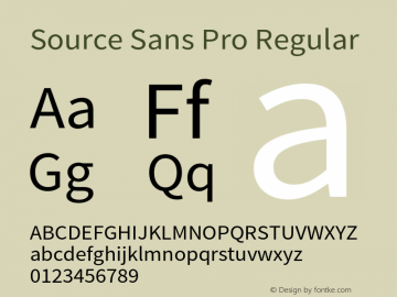 Source Sans Pro Regular Version 1.038;PS 1.000;hotconv 1.0.70;makeotf.lib2.5.5900 Font Sample