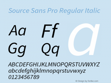 Source Sans Pro Regular Italic Version 1.038;PS 1.000;hotconv 1.0.70;makeotf.lib2.5.5900 Font Sample