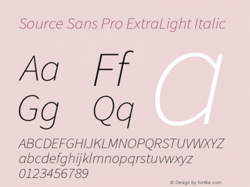 Source Sans Pro ExtraLight Italic Version 1.038;PS 1.000;hotconv 1.0.70;makeotf.lib2.5.5900 Font Sample
