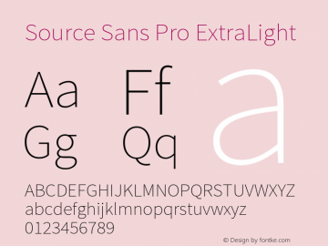 Source Sans Pro ExtraLight Version 1.038;PS 1.000;hotconv 1.0.70;makeotf.lib2.5.5900 Font Sample