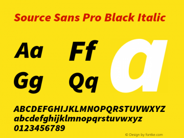 Source Sans Pro Black Italic Version 1.038;PS 1.000;hotconv 1.0.70;makeotf.lib2.5.5900 Font Sample
