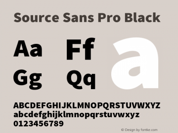 Source Sans Pro Black Version 1.038;PS 1.000;hotconv 1.0.70;makeotf.lib2.5.5900 Font Sample
