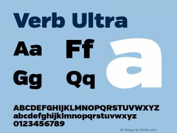 Verb Ultra Version 2.000 Font Sample