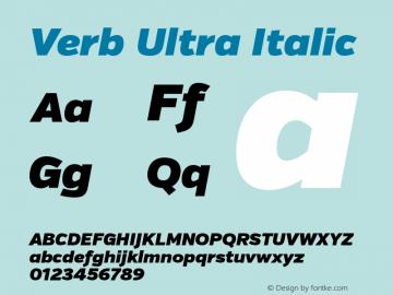 Verb Ultra Italic Version 2.000 Font Sample