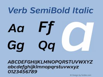 Verb SemiBold Italic Version 2.000 Font Sample