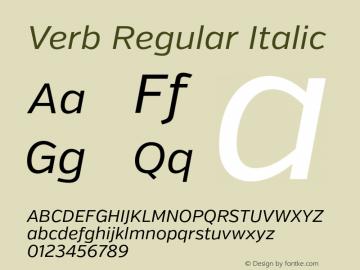 Verb Regular Italic Version 2.000 Font Sample