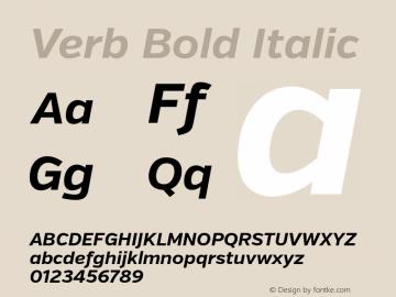 Verb Bold Italic Version 2.000 Font Sample