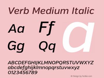 Verb Medium Italic Version 2.000 Font Sample