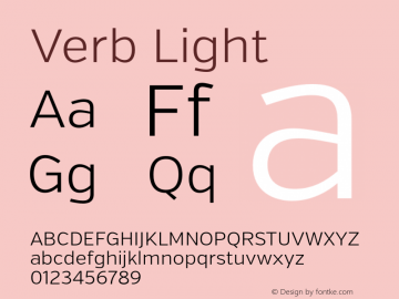 Verb Light Version 2.000 Font Sample