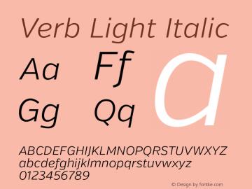 Verb Light Italic Version 2.000 Font Sample