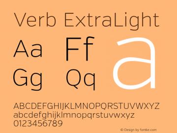 Verb ExtraLight Version 2.000 Font Sample