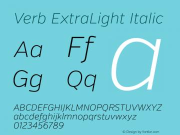Verb ExtraLight Italic Version 2.000 Font Sample