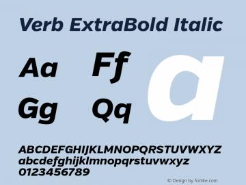 Verb ExtraBold Italic Version 2.000 Font Sample