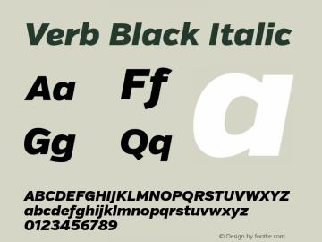 Verb Black Italic Version 2.000 Font Sample