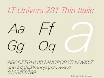 LT Univers 231 Thin Italic Version 1.00图片样张