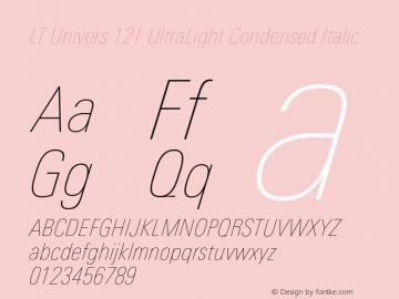 LT Univers 121 UltraLight Condensed Italic Version 1.00图片样张