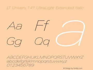 LT Univers 141 UltraLight Extended Italic Version 1.00图片样张