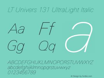 LT Univers 131 UltraLight Italic Version 1.00图片样张