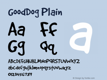GoodDog Plain Version 001.000 Font Sample