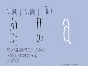 Kunang Kunang Thin Version 001.000 Font Sample
