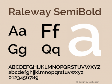 Raleway SemiBold Version 2.001; ttfautohint ( Font Sample