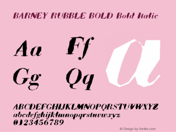 BARNEY RUBBLE BOLD Bold Italic Unknown Font Sample
