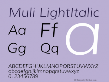 Muli LightItalic Version 1.000 Font Sample
