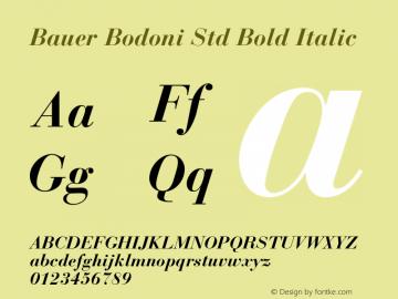 Bauer Bodoni Std Bold Italic Version 2.030;PS 002.000;hotconv 1.0.51;makeotf.lib2.0.18671图片样张