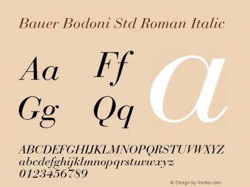 Bauer Bodoni Std Roman Italic Version 2.030;PS 002.000;hotconv 1.0.51;makeotf.lib2.0.18671图片样张