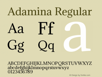 Adamina Regular Version 1.010 Font Sample