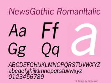 NewsGothic RomanItalic Version 1.00 Font Sample