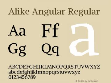 Alike Angular Regular Version 1.210 Font Sample