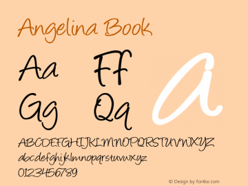 Angelina Book Version Altsys Fontographer Font Sample