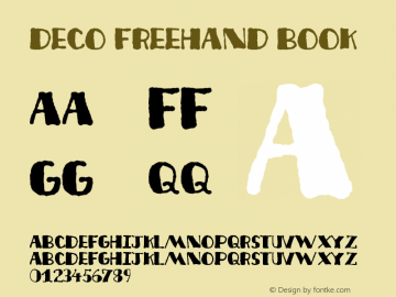 Deco Freehand Book Version 2001; 1.0, initial r Font Sample