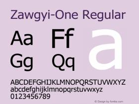 Zawgyi-One Regular Version 4.30 November 14, 20图片样张