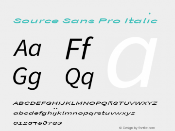 Source Sans Pro Italic Version 1.038;PS Version 1.000;hotconv 1.0.70;makeotf.lib2.5.5900 Font Sample