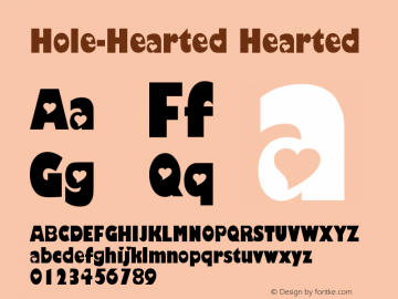 Hole-Hearted Hearted Version 2003; 1.1 Font Sample