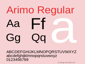 Arimo Regular Version 1.23 Font Sample