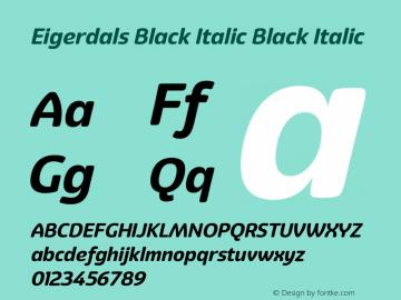 Eigerdals Black Italic Black Italic Version 3.000 Font Sample
