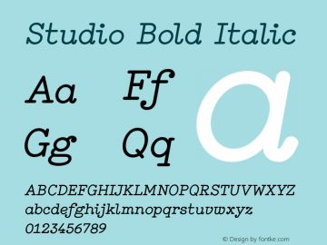 Studio Bold Italic Version 1.000图片样张