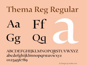 Thema Reg Regular Version 4.000 Font Sample