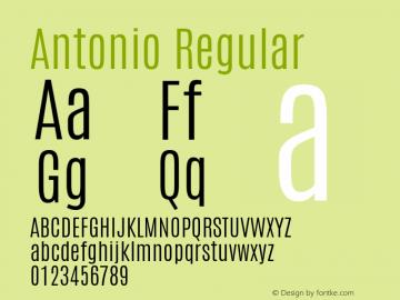 Antonio Regular Version 1; ttfautohint (v0.95.21-fb14) -l 8 -r 50 -G 200 -x 0 -w