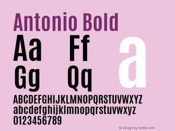 Antonio Bold Version 1; ttfautohint (v0.95.21-fb14) -l 8 -r 50 -G 200 -x 0 -w